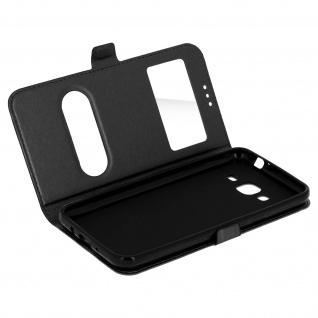 Ultradünne Doppel-Fenster Flip-Schutzhülle für Samsung Galaxy J3 - Schwarz