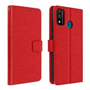 Flip Stand Case Brieftasche & Standfunktion für Honor 9X Lite - Rot