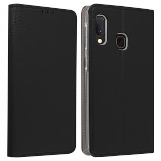 Wallet Cover, Klapphülle für Galaxy A20e, Kartenfach und Ständer ? Schwarz