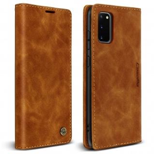 Vintage Klapphülle, Klappetui mit Geldbörse für Samsung Galaxy S20 ? Hellbraun