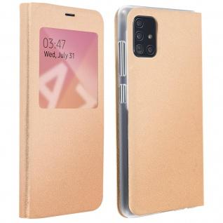 S-View Flip Cover mit Sichtfenster & Kartenfach für Samsung Galaxy A71 - Gold