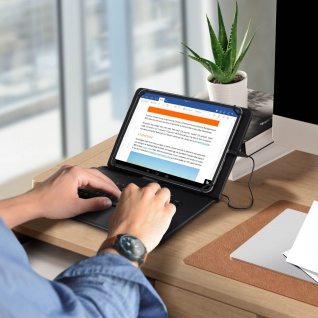 Klappetui für 10 Zoll Tablets mit USB-C AZERTY-Tastatur, Ständer ? Schwarz