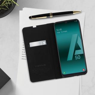 Samsung Galaxy A50 / A30s Klappetui, Cover mit Carbon Design & Ständer ? Schwarz - Vorschau 4