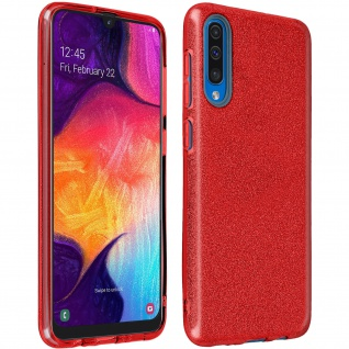 Schutzhülle, Glitter Case für Samsung Galaxy A50, shiny & girly Hülle - Rot