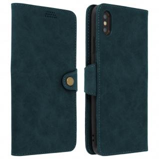 Retrohülle, Flip wallet Cover mit Standfunktion für Apple iPhone XS Max - Blau