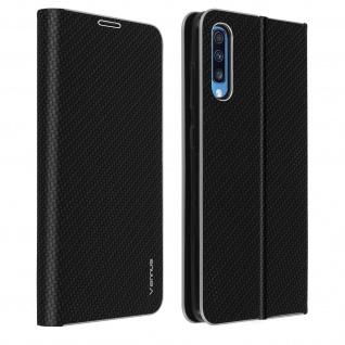 Samsung Galaxy A70 Klappetui, Cover mit Carbon Design & Ständer - Schwarz