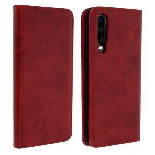 Flip Cover Geldbörse, Kunstleder Klappetui für Huawei P30 - Rot