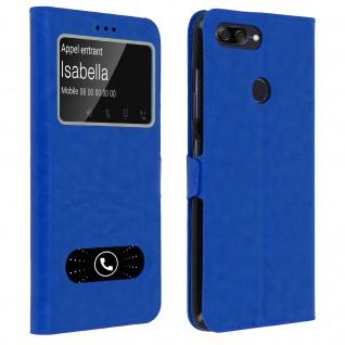 Doppelfenster Flip Cover Asus Zenfone Max Plus M1 mit Standfunktion - Blau