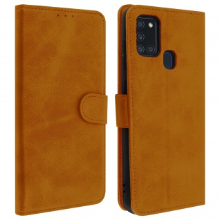 Flip Stand Case Brieftasche & Standfunktion für Samsung Galaxy A21s - Braun