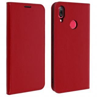 Business Leder Cover, Schutzhülle mit Geldbörse Huawei Y7 2019 - Rot