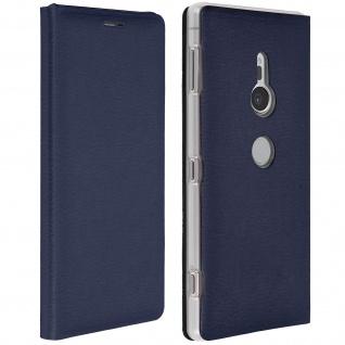Flip Book Cover, Klappetui aus Kunstleder für Sony Xperia XZ2 - Dunkelblau
