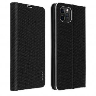 Apple iPhone 11 Pro Klappetui, Cover mit Carbon Design & Ständer - Schwarz
