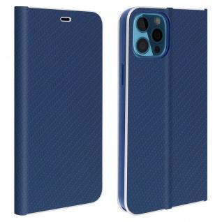 Apple iPhone 12 Pro Max Klappetui, Cover mit Carbon Design ? Dunkelblau - Vorschau 1