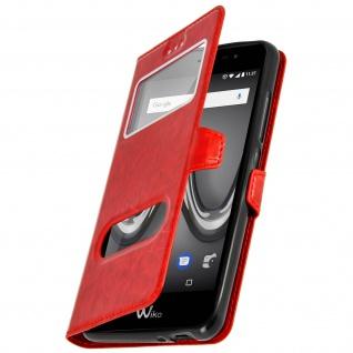 Wiko Tommy 2 Flip-Schutzhülle mit Doppelfenster und Standfunktion - Rot