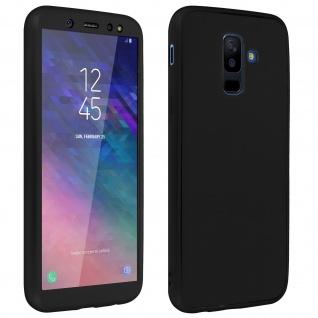 Rundumschutz Galaxy A6 Plus Silikonhülle Schwarz + Displayschutzfolie aus Glas - Vorschau 2