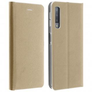 Samsung Galaxy A7 2018 Flip Cover mit Kartenschlitz & Standfunktion - Gold