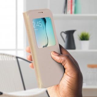 S-View Flip Book Cover, Schutzhülle mit Geldbörse für Galaxy S6 Edge - Gold - Vorschau 3