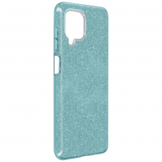 Schutzhülle, Glitter Case Samsung Galaxy A12, shiny & girly Hülle â€? Türkisblau