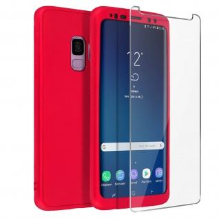 Rundumschutz Samsung Galaxy S9 Silikon Case Rot + Displayschutzfolie aus Glas