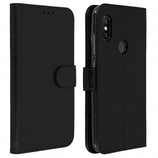 Flip Cover Geldbörse, Klappetui Kunstleder für Xiaomi Redmi Note 6 Pro - Schwarz