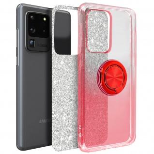Glitter Silikonhülle mit Ring Halterung für Samsung Galaxy S20 Ultra - Rot