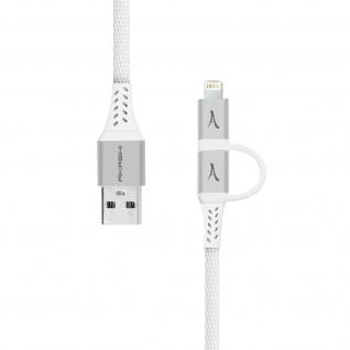 2-in-1 Lightning / USB-C Kabel, geflochtenes Nylonkabel, Akashi - Weiß