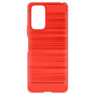 Xiaomi Redmi Note 10 Pro Schutzhülle mit Aluminium und Carbon Design ? Rot