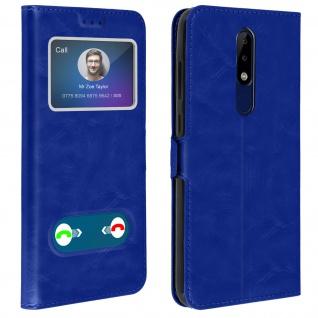 Nokia 5.1 Plus Flip Cover Doppelfenster & Standfunktion - Blau