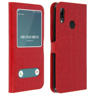 Huawei P Smart 2019 Flip Cover mit Doppelfenster & Standfunktion - Rot