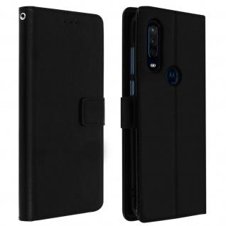 Flip Cover Stand Case Brieftasche & Standfunktion Motorola One Action - Schwarz
