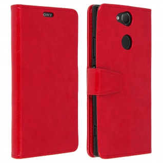 Flip Cover Stand Case Brieftasche & Standfunktion für Sony Xperia XA2 - Rot