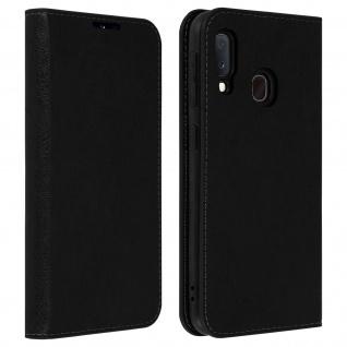 Business Leder Cover, Schutzhülle mit Geldbörse Samsung Galaxy A20e - Schwarz