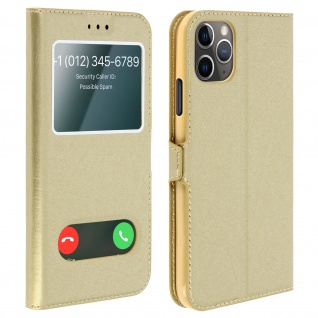 Apple iPhone 11 Pro Max Flip Cover Doppelfenster & Standfunktion - Gold