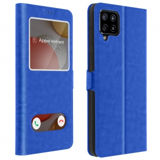 Samsung Galaxy A42 5G Cover Doppelfenster & Standfunktion - Blau