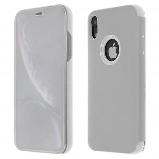 Apple iPhone XR Flip Cover mit Spiegeleffekt & Standfunktion - Silber