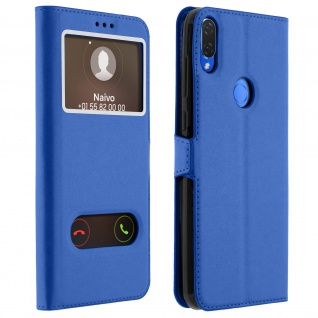 Huawei P Smart Plus Flip Cover mit Doppelfenster & Standfunktion - Blau