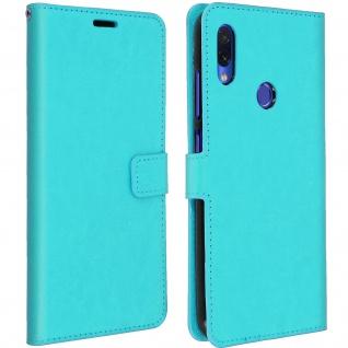 Flip Book Cover, Klappetui aus Kunstleder für Xiaomi Redmi Note 7 - Türkisblau