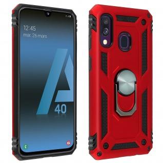 Hybrid Handyhülle mit Ring Halterung für Samsung Galaxy A40 - Rot