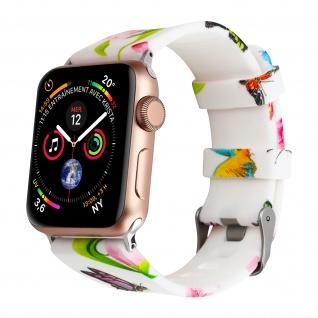 Apple Watch 42 / 44mm Armbanduhr, Silikon Armband mit Schmetterlingen