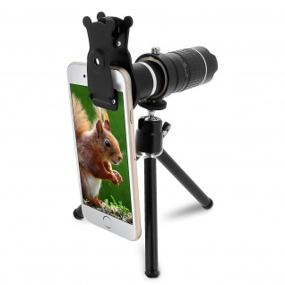 Smartphone-Objektiv HD 4K Zoom 14x Stativ Clip Mount - Schwarz
