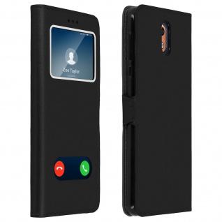 Nokia 3.1 Flip Cover mit Doppelfenster & Standfunktion - Schwarz