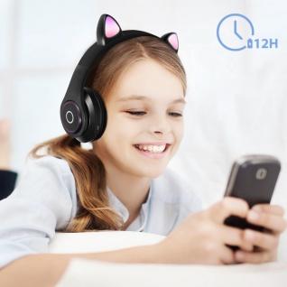 Katzenohren kabellose 5.0 Bluetooth Kopfhörer, Kitty Headset ? Schwarz - Vorschau 4