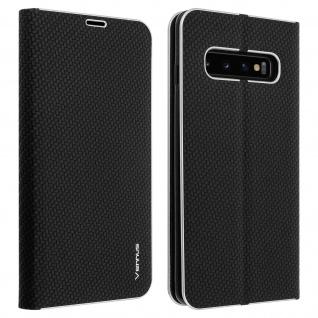 Samsung Galaxy S10 Klappetui, Flip Cover mit Carbon Design & Ständer ? Schwarz