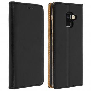 Samsung Galaxy A8 Flip Cover Echtleder mit Standfunktion & Kartenfach - Schwarz