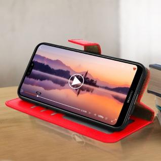 Flip Cover Stand Case Brieftasche & Standfunktion für Huawei P20 Lite - Rot - Vorschau 3