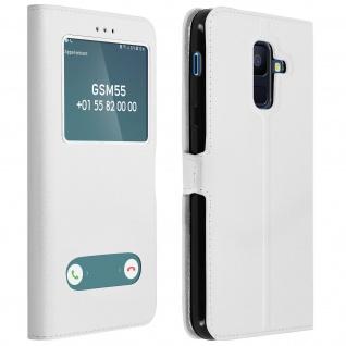 Flip Cover Doppelfenster & Standfunktion für Samsung Galaxy A6 Plus - Weiß