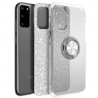 Glitter Silikonhülle mit Ring Halterung für Samsung Galaxy S20 - Silber
