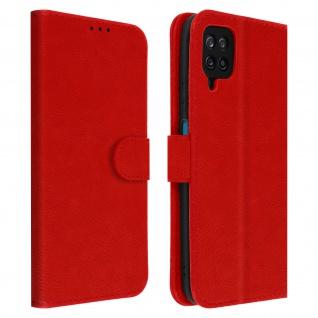 Flip Cover Geldbörse, Etui Kunstleder für Samsung Galaxy A12 ? Rot