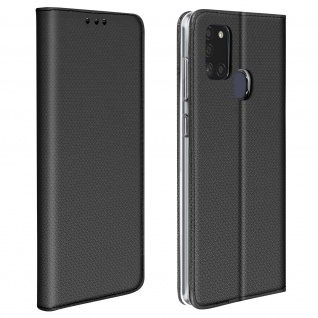 Wallet Cover für Samsung Galaxy A21s, Kartenfach und Ständer ? Schwarz