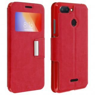 Klappetui, Hülle mit Sichtfenster & Standfunktion für Xiaomi Redmi 6A/ 6 - Rot